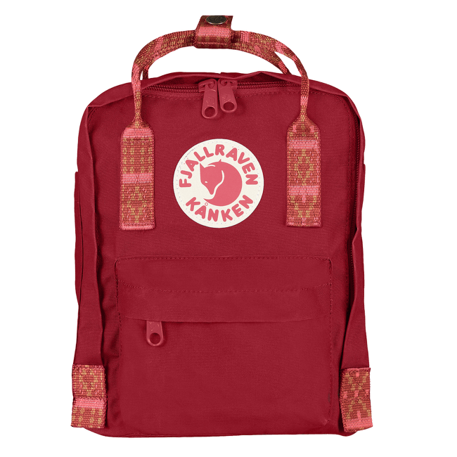 Kanken Mini Deep Red-Folk Pattern