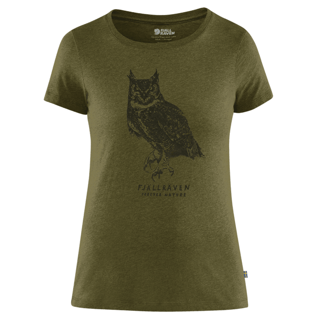 Owl Print T-Shirt Women Green